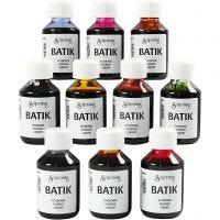 Peinture Batik pour textile, couleurs assorties, 10x100 ml/ 1 Pq.