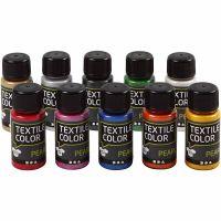 Peinture Textile Color , nacré, couleurs assorties, 10x50 ml/ 1 Pq.