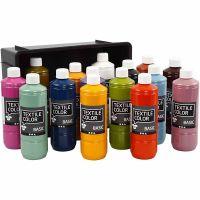 Peinture Textile Color, couleurs assorties, 15x500 ml/ 1 Pq.