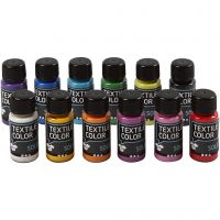 Textile Solid, opaque, couleurs assorties, 12x50 ml/ 1 Pq.