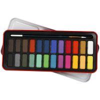 Set de peinture Aquarelle, dim. 12x30 mm, couleurs assorties, 24 couleur/ 1 Pq.