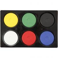 Gouache - Assortiment, H: 16 mm, d: 44 mm, couleur primaire, 1 set