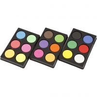 Gouache - Assortiment, H: 16 mm, d: 44 mm, couleurs néons, couleur extra, 1 set
