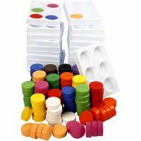Gouache - Assortiment, H: 16 mm, d: 44 mm, couleurs assorties, 1 set