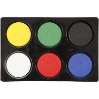 Gouache - Assortiment, H: 19 mm, d: 57 mm, couleur primaire, 1 set