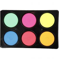 Gouache - Assortiment, H: 16 mm, d: 44 mm, couleurs néons, 1 set