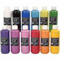 Textile Solid, opaque, couleurs assorties, 12x250 ml/ 1 Pq.