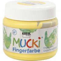 MUCKI Peinture au doigt, jaune, 150 ml/ 1 boîte