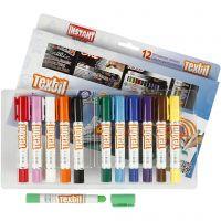 Feutres textile Playcolor, L: 14 cm, couleurs assorties, 12 pièce/ 1 Pq., 5 gr