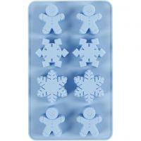 Moule en silicone, Cristaux de glace et bonhommes en biscuit, H: 2,5 cm, L: 24 cm, L: 14 cm, diamètre intérieur 30x45 mm, 12,5 ml, 1 pièce/ 1 Pq.