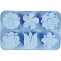 Moule en silicone, fleurs, H: 2,6 cm, L: 30 cm, L: 21 cm, diamètre intérieur 60x75 mm, 75 ml, 1 pièce