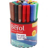 Feutres Berol Colourfine, d: 10 mm, trait 0,3-0,7 mm, couleurs assorties, 42 pièce/ 1 boîte