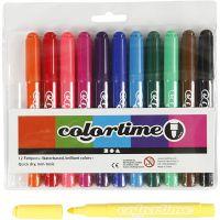 Feutres Colortime, trait 5 mm, couleurs classiques, 12 pièce/ 1 Pq.
