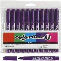 Feutres Colortime, trait 5 mm, violet, 12 pièce/ 1 Pq.