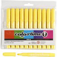 Feutres Colortime, trait 5 mm, jaune citron, 12 pièce/ 1 Pq.