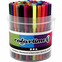 Feutres Colortime, trait 2 mm, couleurs assorties, 100 pièce/ 1 seau