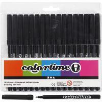 Feutres Colortime, trait 2 mm, noir, 18 pièce/ 1 Pq.