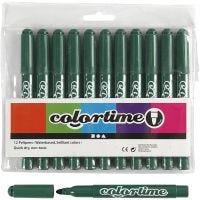 Feutres Colortime, trait 5 mm, vert, 12 pièce/ 1 Pq.