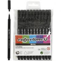 Feutre Colortime Fineliner, trait 0,6-0,7 mm, noir, 12 pièce/ 1 Pq.