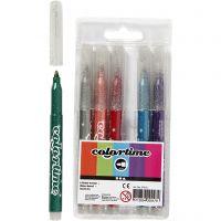 Feutres à paillettes Colortime, trait 2 mm, couleurs assorties, 6 pièce/ 1 Pq.