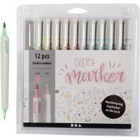 Feutres Sketch Marker, trait 1+2-5 mm, couleurs pastel, 12 pièce/ 1 Pq.
