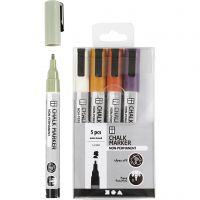 Feutres à craie, trait 1,2-3 mm, couleurs pastel, 5 pièce/ 1 Pq.