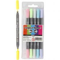 Feutres Colortime double pointe, trait 2,3+3,6 mm, couleurs pastel, 6 pièce/ 1 Pq.