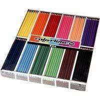 Crayons de couleur Colortime, L: 17,45 cm, mine 3 mm, couleurs assorties, 12x24 pièce/ 1 Pq.