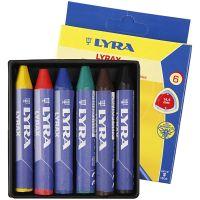 Crayon de cire Lyra, L: 9 cm, ép. 15 mm, 6 pièce/ 1 Pq.