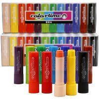 Craies à la cire Colortime, L: 8 cm, couleurs assorties, 120 pièce/ 1 Pq., 6,5 gr