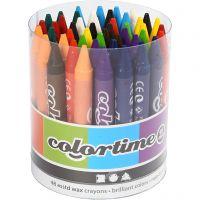 Crayon de cire Colortime, L: 10 cm, ép. 11 mm, couleurs assorties, 48 pièce/ 1 Pq.