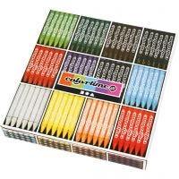 Crayon de cire Colortime, L: 10 cm, ép. 11 mm, couleurs assorties, 12x24 pièce/ 1 Pq.
