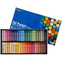 Pastels à l'huile Mungyo, L: 7 cm, ép. 11 mm, couleurs assorties, 48 pièce/ 1 Pq.