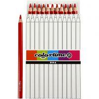 Crayons de couleur Colortime , L: 17,45 cm, mine 5 mm, JUMBO, rouge, 12 pièce/ 1 Pq.