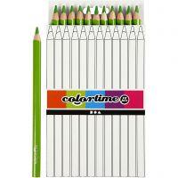Crayons de couleur Colortime , L: 17,45 cm, mine 5 mm, JUMBO, vert clair, 12 pièce/ 1 Pq.