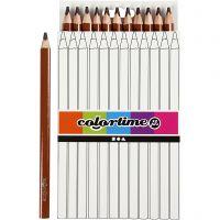 Crayons de couleur Colortime , L: 17,45 cm, mine 5 mm, JUMBO, brun, 12 pièce/ 1 Pq.