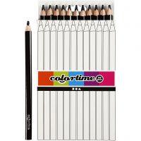 Crayons de couleur Colortime , L: 17,45 cm, mine 5 mm, JUMBO, noir, 12 pièce/ 1 Pq.