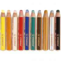 Woody 3-en-1, L: 11 cm, ép. 16 mm, mine 10 mm, couleurs assorties, 10 pièce/ 1 Pq.