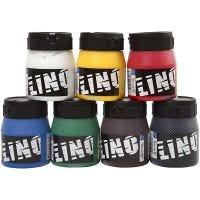 Encre lino, couleurs assorties, 7x250 ml/ 1 Pq.