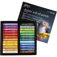 Pastels à l'huile Gallery Premium, L: 7 cm, ép. 10 mm, couleurs assorties, 24 pièce/ 1 Pq.