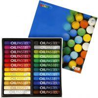 Pastels à l'huile Mungyo, L: 7 cm, ép. 11 mm, couleurs assorties, 24 pièce/ 1 Pq.