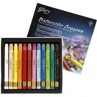 Pastels à la cire aquarellables, L: 9,3 cm, couleurs assorties, 12 pièce/ 1 Pq.