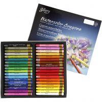 Pastels à la cire aquarellables, L: 9,3 cm, couleurs assorties, 36 pièce/ 1 Pq.