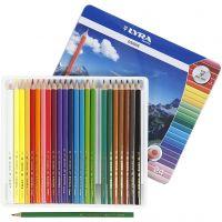 Crayons de couleur Lyra Osiris, L: 18 cm, mine 3 mm, couleurs assorties, 24 pièce/ 1 Pq.