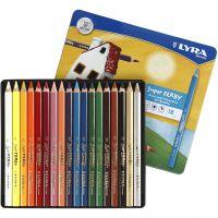 Crayons de couleur Lyra Super Ferby 1, L: 18 cm, mine 6,25 mm, couleurs assorties, 18 pièce/ 1 Pq.