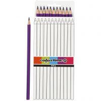 Crayons de couleur Colortime, L: 17 cm, mine 3 mm, violet, 12 pièce/ 1 Pq.