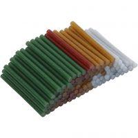 Bâtons de colle pour pistolet à colle, L: 10 cm, d: 7 mm, paillettes, or, vert, rouge, argent, 100 pièce/ 1 Pq.