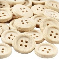 Boutons en bois, d: 23 mm, 4 trous, 30 pièce/ 1 Pq.