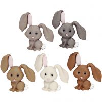 Boutons originaux, lapins, H: 28 mm, 5 pièce/ 1 Pq.
