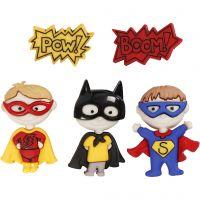 Boutons originaux, super héros, H: 14-32 mm, L: 18-21 mm, 5 pièce/ 1 Pq.